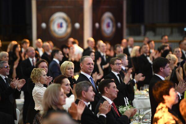 Посетители на вечере, посвященном 60-летию танцевального спорта в России, в Малом зале Государственного Кремлевского дворца