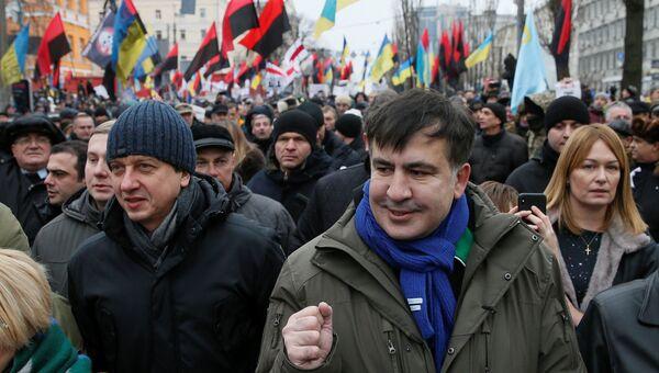 Михаил Саакашвили во время акции протеста в Киеве, Украина. 17 ноября 2017