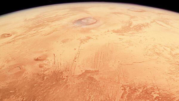Снимок поверхности Марса, сделанный при помощи зонда Mars Express