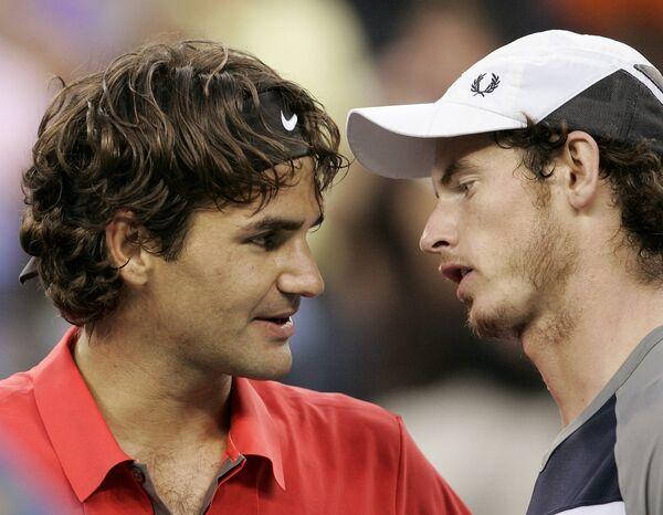 Роджер Федерер и Энди Мюррей после финала US Open-2008