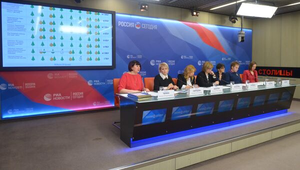 Участники пресс-конференции на тему: Рейтинг детских новогодних представлений Москвы 2018 в ММПЦ МИА Россия сегодня