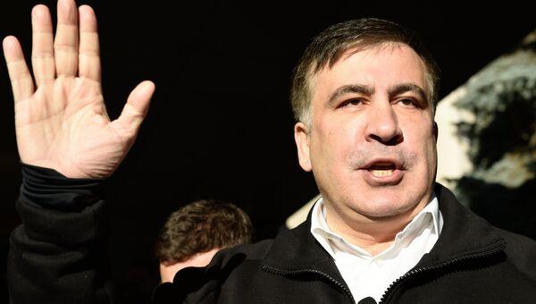 Бывший губернатор Одесской области Украины и лидер политической партии Рух нових сил Михаил Саакашвили отвечает на вопросы журналистов. 26 декабря 2017