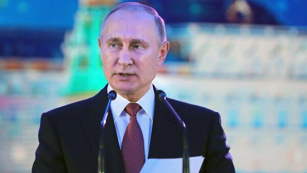 Президент РФ Владимир Путин выступает на приеме в честь Нового года в Кремле. 27 декабря 2017
