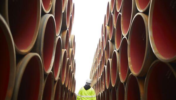 Трубы для строительства газопровода Северный поток - 2 на заводе в Котке. Архивное фото
