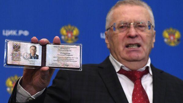 Лидер ЛДПР Владимир Жириновский, зарегистрированный Центральной избирательной комиссией РФ в качестве кандидата на пост президента России