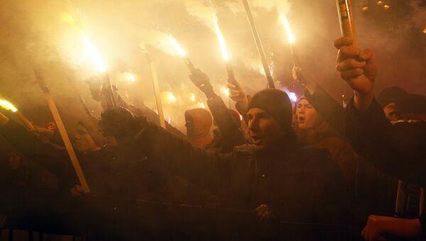 Активисты различных националистических партий во время митинга в Киеве, Украина. 1 января 2018
