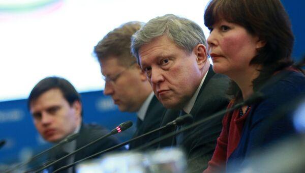 Председатель Федерального политического комитета партии Яблоко Григорий Явлинский во время подачи документов по выдвижению кандидатом на президентских выборах в 2018 году