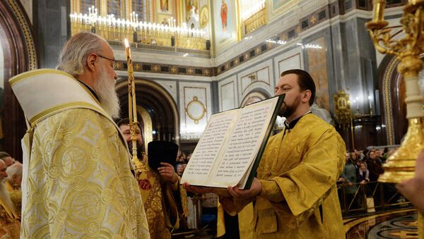 Патриарх Кирилл совершает молебное пение на новолетие в Храме Христа Спасителя в Москве. Архивное фото
