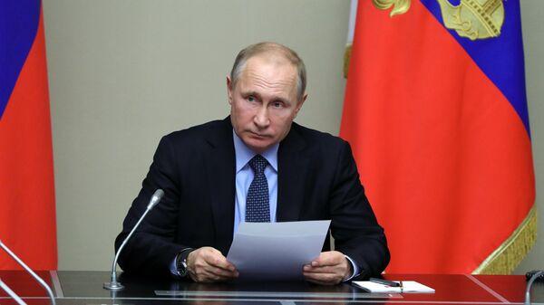 Президент РФ Владимир Путин проводит совещание с постоянными членами Совета безопасности РФ. 19 января 2018