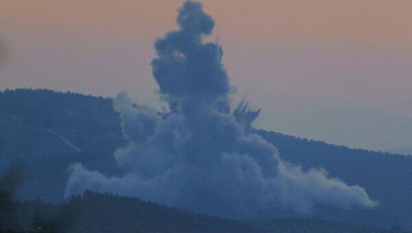 Дым над Африном после начала турецкой операции Оливковая ветвь
