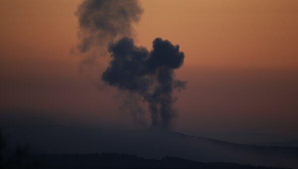 Дым над Африном после начала операции Оливковая ветвь
