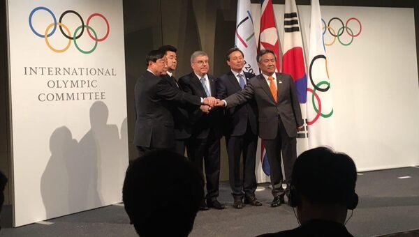 Во время четырёхсторонней встречи между делегациями национальных олимпийских комитетов КНДР и Южной Кореи в Лозанне. 20 января 2018