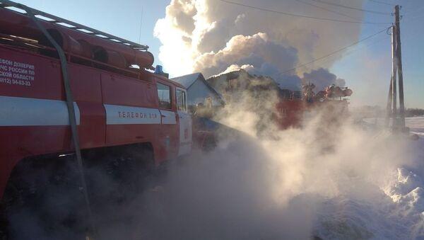 Пожарные работают на месте ликвидации пожара в частном жилом доме в селе Седельниково Омской области. 22 января 2018