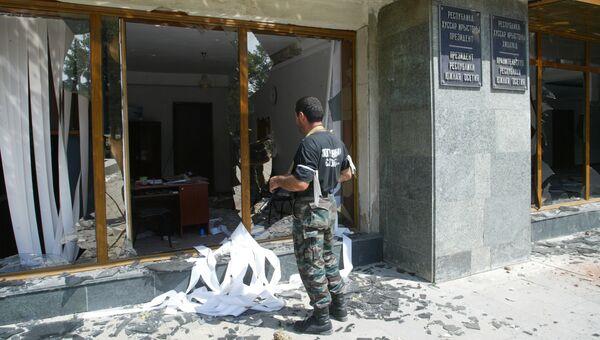 Разрушения в городе Цхинвали после нападения грузинских войск