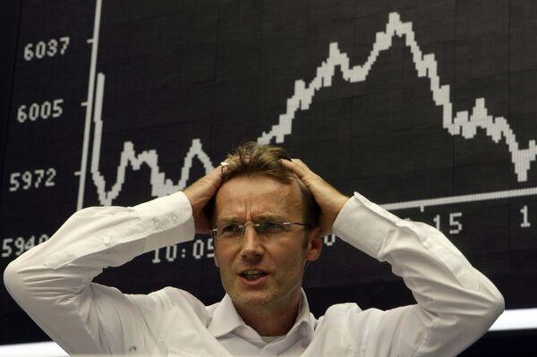 Трейдер на фондовой бирже во Франкфурте