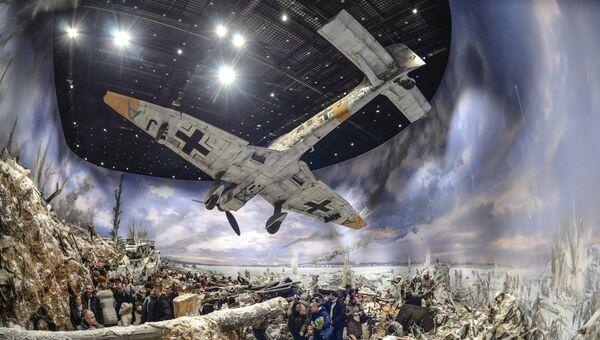 Экспозиция трехмерной панорамы битвы за Ленинград в январе 1943 года Прорыв, созданной к 75-летию прорыва блокады Ленинграда, на территории Кировского музея-заповедника Прорыв блокады Ленинграда