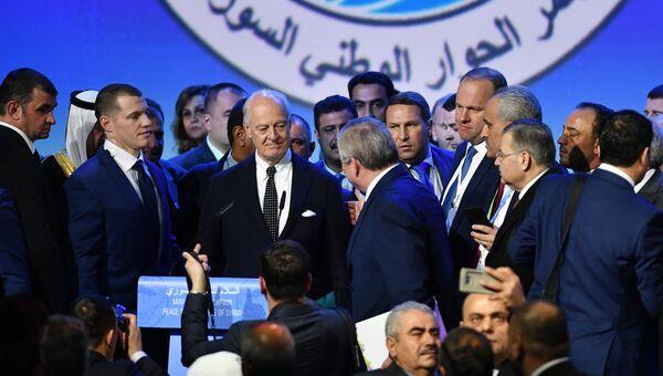 Специальный представитель Генерального секретаря ООН по Сирии Стаффан де Мистура на конгрессе сирийского национального диалога в Сочи. 30 января 2018