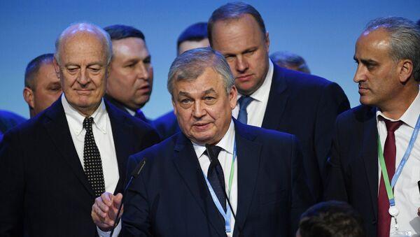 Специальный представитель президента РФ по сирийскому урегулированию Александр Лаврентьев на конгрессе сирийского национального диалога в Сочи. Архивное фото