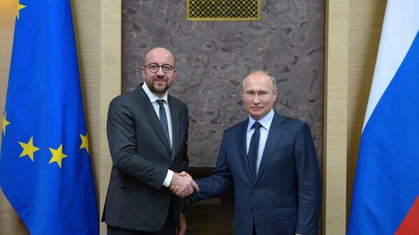 Президент РФ Владимир Путин и премьер-министр Бельгии Шарль Мишель во время встречи. 31 января 2018