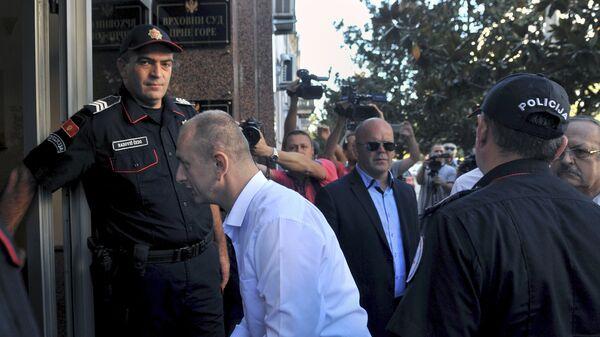 Лидер Демократического фронта Милан Кнежевич прибывает в здание Верховного суда в Подгорице