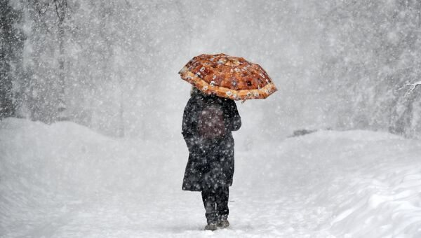 Женщина с зонтом во время снегопада. Архивное фото