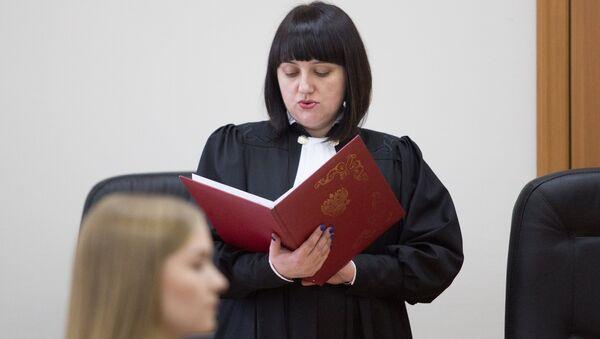 Судья Елена Поликина во время оглашения приговора Александру Хорошавину в Южно-Сахалинском городском суде