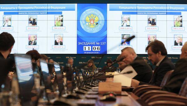 Заседание Центральной избирательной комиссии РФ о регистрации на должность президента Российской Федерации Владимира Путина. 6 февраля 2018