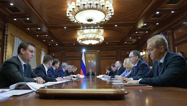 Председатель правительства РФ Дмитрий Медведев проводит совещание о механизмах поддержки агропромышленного комплекса. 7 февраля 2018
