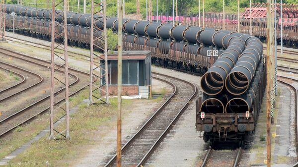 Ежедневная доставка труб из Мюльхайма в Мукран для газопровода Северный поток ‑ 2
