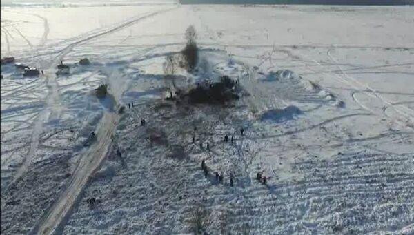 Сотрудники МЧС России в Раменском районе Московской области, где самолет Ан-148 Саратовских авиалиний. Архивное фото