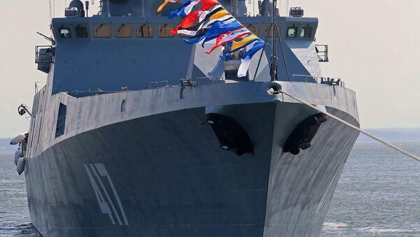Фрегат Адмирал Горшковво время генеральной репетиции парада ко Дню ВМФ РФ в Балтийске