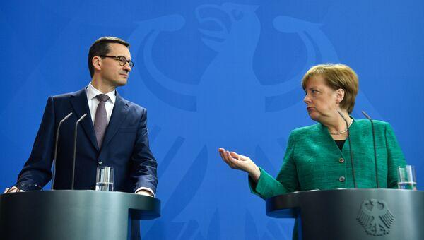 Совместная пресс-конференция премьер-министра Польши Матеуша Моравецкого и канцлера Германии Ангелы Меркель. 16 февраля 2018