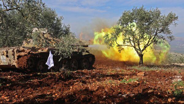 Поддерживаемые Турцией сирийские вооруженные формирования в районе границы между Сирией и Турцией в регионе Африн