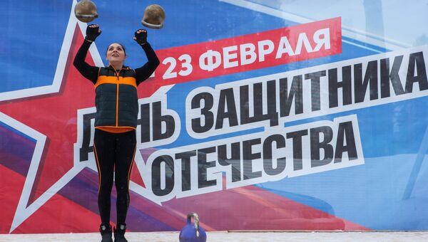 Спортсменка выступает на концерте в честь Дня защитника отечества. Архивное фото