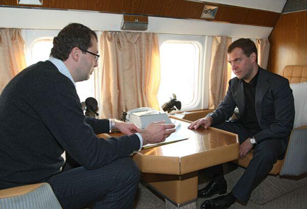 Губернатор Чукотского АО Роман Копин и президент России Дмитрий Медведев