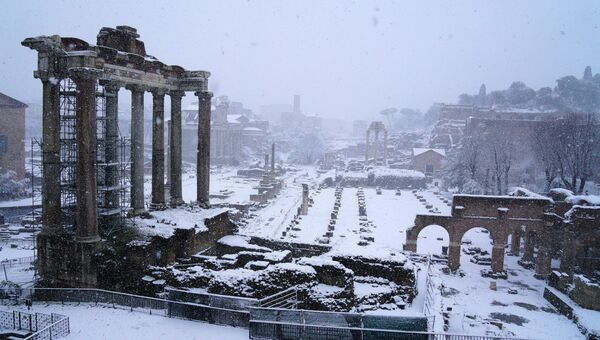 Cнегопад в Риме, Италия. 26 февраля 2018 года