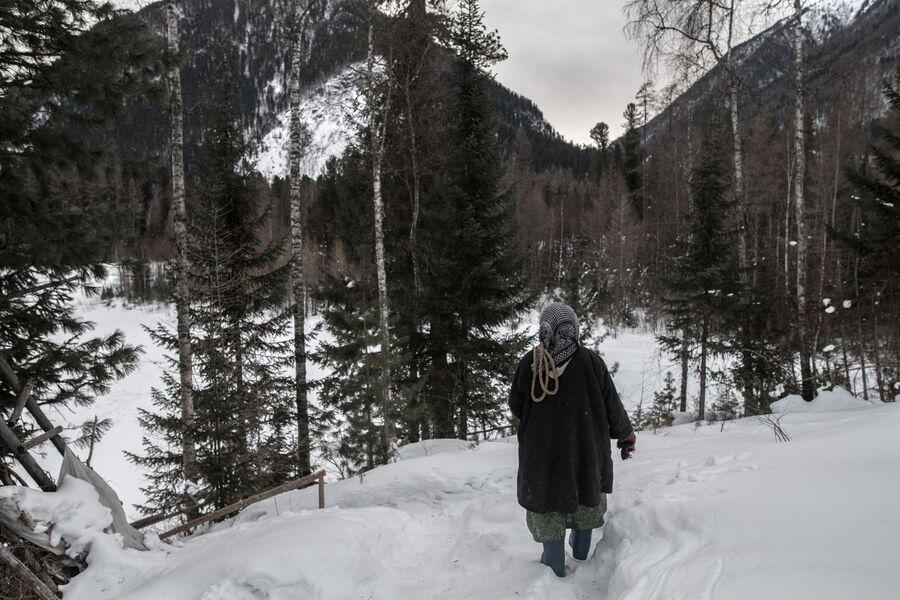 Агафья Карповна идет в лес за дровами