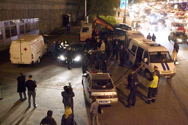 Руслан Ямадаев был убит в центре Москвы 24 сентября 2008 года. Фото с места убийства