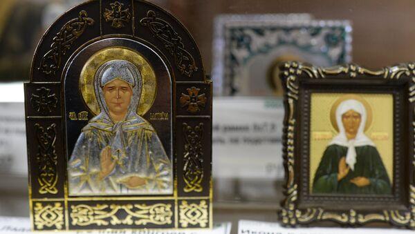 Иконы Святой Матроны Московской, изготовленные на заводе ООО Художественное-Производственное предприятие Софрино. Архивное фото