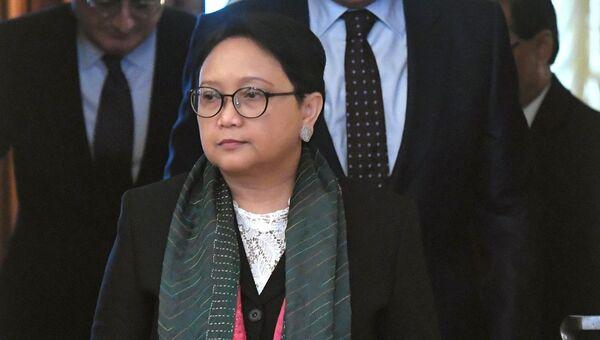 инистр иностранных дел Индонезии Ретно Марсуди во время встречи с Сергеем Лавровым. 13 марта 2018