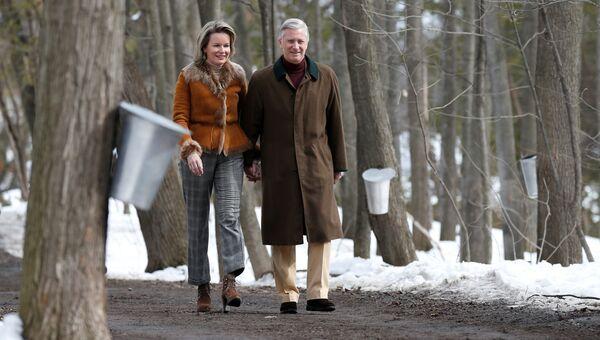 Король Бельгии Филипп и его супруга королева Матильда в парке Оттавы, Канада. 12 марта 2018