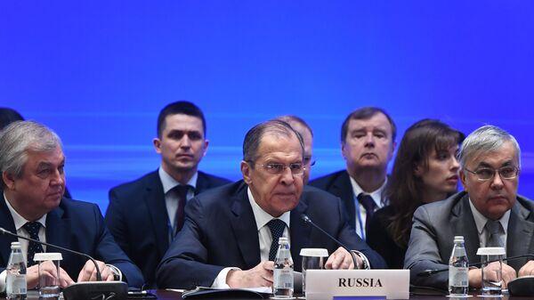Министр иностранных дел РФ Сергей Лавров на встрече глав МИД стран-гарантов перемирия в Сирии в Астане