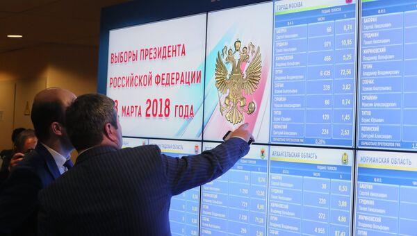 Экран с предварительными результатами выборов президента РФ в ЦИК РФ