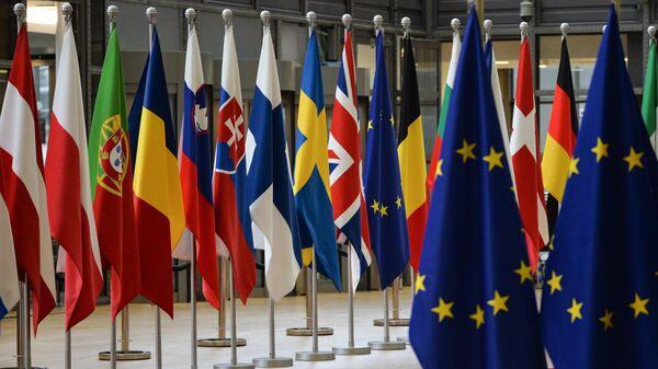 Флаги стран-участников ЕС в Брюсселе. Архивное фото