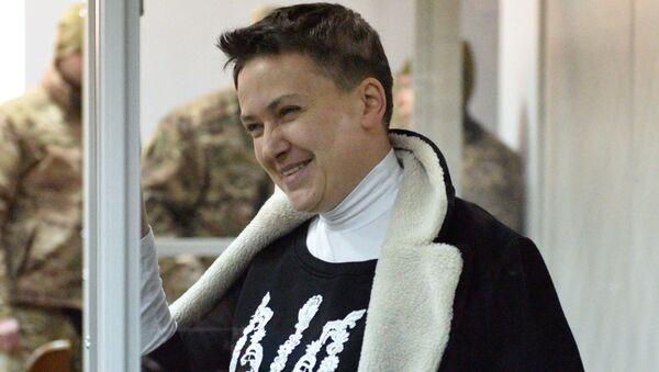 Депутат Верховной рады Надежда Савченко на заседании в Шевченковском районном суде в Киеве. 23 марта 2018