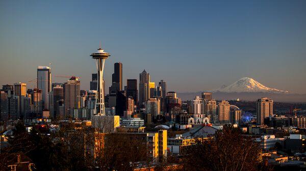 Вид на город Сиэтл в США