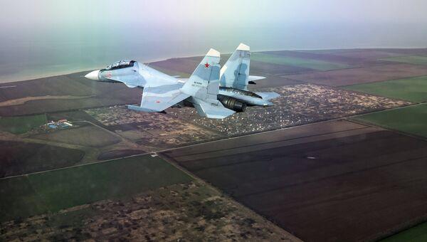 Многоцелевой истребитель Су-30СМ на соревнованиях в рамках Международного конкурса Авиадартс-2018 в Краснодарском крае