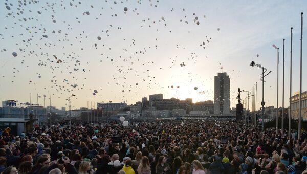 Акция во Владивостоке в память о погибших в ТЦ Зимняя вишня в Кемерово