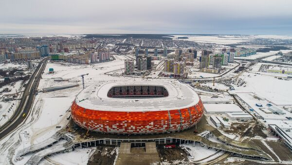 Строительство стадиона Мордовия Арена в Саранске, где пройдут матчи чемпионата мира по футболу 2018