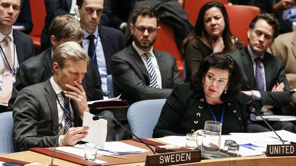 Постоянный представитель Великобритании при ООН Карен Пирс выступает на открытом заседании совета безопасности ООН